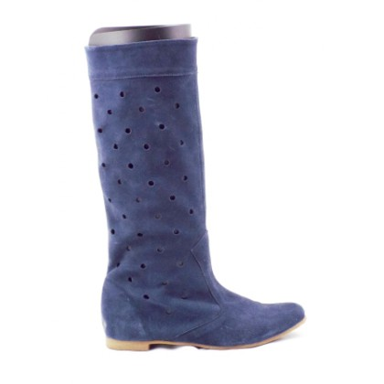 Cizme  dama albastru inchis ,de vara, din piele intoarsa naturala perforata, cu talpa comfortabila., (ROMA perforata vara-20)