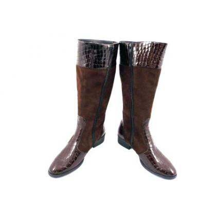 Cizme dama maro elegante ROMA CROCO, din piele naturala (piele intoarsa & lacuita), cu  fermoar lateral., (ROMA CROCO maro CDI 3-449-87)