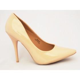 Pantofi dama bej stiletto cu  toc de 10 cm