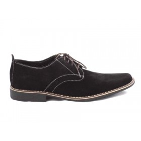Pantofi barbati negri din piele intoarsa premium, cu talpa comfortabila cu toc
