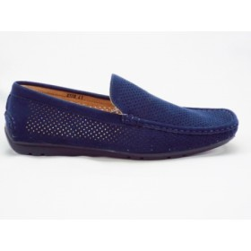 Pantofi barbati bleumarin, perforati, imitatie piele intoarsa