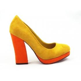 Pantofi dama mustar/portocaliu eleganti, imitatie piele intoarsa, cu  toc inalt