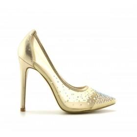 Pantofi dama aurii ,cu toc de 10 cm, material foarte fin, translucid  si strasuri fin aplicate