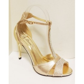 Sandale dama aurii, toc inalt, elegante, cu strasuri