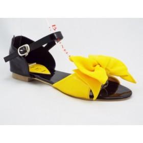 Sandale dama negre cu galben, accesoriu tip floare