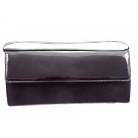 Geanta dama neagra  CORY, tip plic, din piele naturala premium & piele lacuita