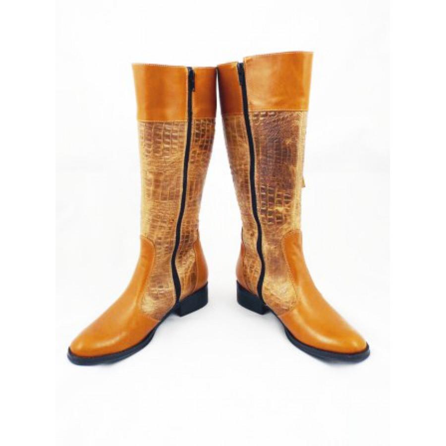 Cizme dama camel elegante ROMA CROCO, din piele naturala (piele intoarsa & lacuita), cu fermoar lateral
