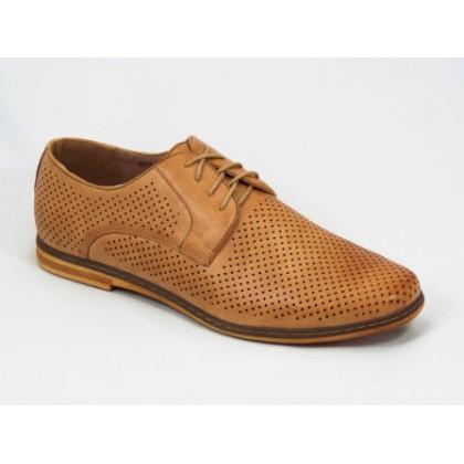 Pantofi barbati maro perforati Rikon, (MMM A311-3 L.BROWN (M)-50)