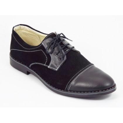 Pantofi barbati piele intoarsa negri siret Titano, (107 VELUR/PIELE NEGRI-5)