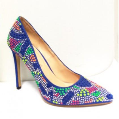 Pantofi dama  albastri cu aplicatii multicolore, (LUCIA-32)