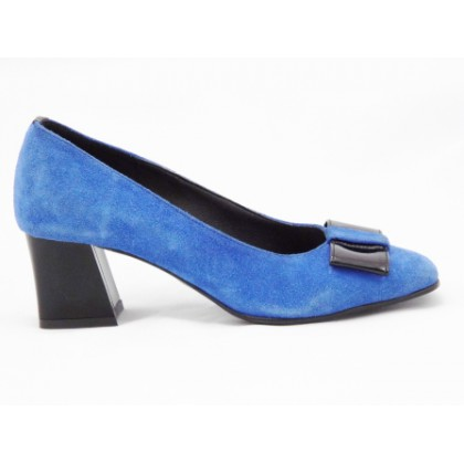 Pantofi dama albastri din piele naturala , cu accesoriu tip fundita si toc de 5 cm, (ROMA PD 148-16)