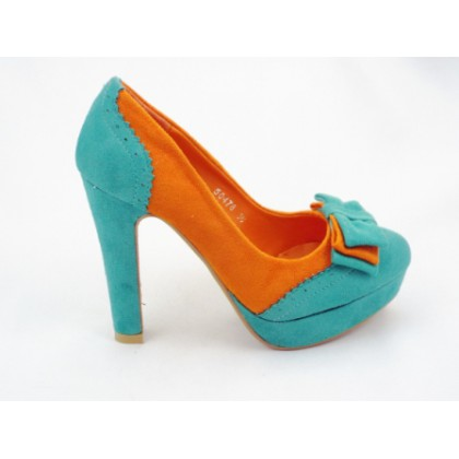 Pantofi dama  albastru cu portocaliu, eleganti, imitatie piele intoarsa, cu  toc inalt, (RS 477  albastru/portocaliu  piele intoarsa-16)