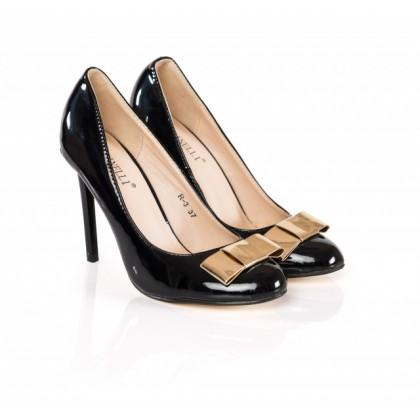 Pantofi dama Anny negri cu toc de 9 cm, (BOTINELLY R-3 BLACK DP-91)