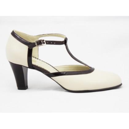 Pantofi dama bej cu maro din piele naturala lacuita, cu bareta si toc de 6 cm, (ROMA SDS 086-3)