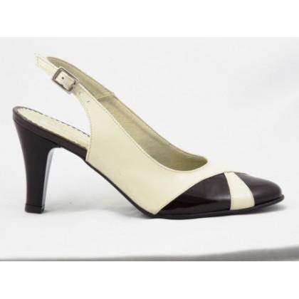 Pantofi dama bej cu maro din piele naturala lacuita, decupati, cu toc de 8 cm, (ROMA PS 080-1-72)