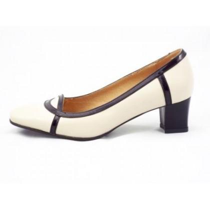 Pantofi dama bej din piele naturala cu linii negre din piele lacuita, cu toc de 4 cm, (ROMA PD 291-5-90)