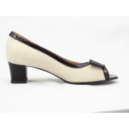 Pantofi dama bej din piele naturala,decupati, cu toc de 4 cm, (ROMA PDV ANA-82)