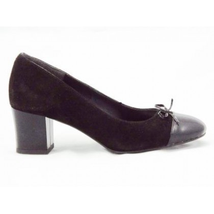 Pantofi dama negri din piele antilopa cu varf din piele lacuita,accesorizati cu o fundita eleganta, cu toc de 5 cm., (ROMA PD 538-96)