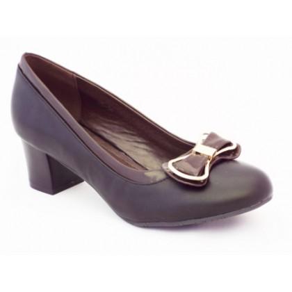 Pantofi dama negri , toc de 5 cm, cu accesoriu metalic, (PIAODU 85-19)