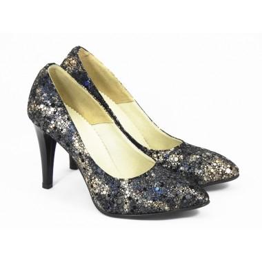 Pantofi dama piele auriu cu bleumarin Otilia