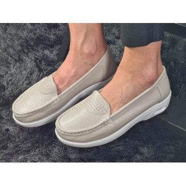 Pantofi dama piele bej Sara