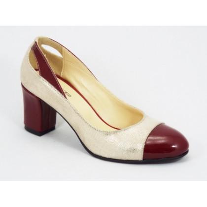 Pantofi dama piele bordo cu auriu toc 6,5 cm Lallyk, (NIMAR BORDO-69)
