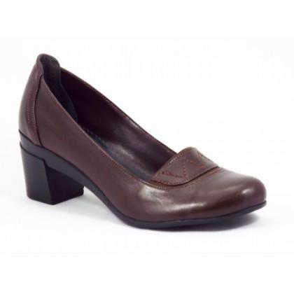Pantofi dama piele maro toc 5 cm Geny, (FM SHOES 075(KAHRAN)-99)