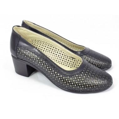 Pantofi dama piele negri perforati Florina