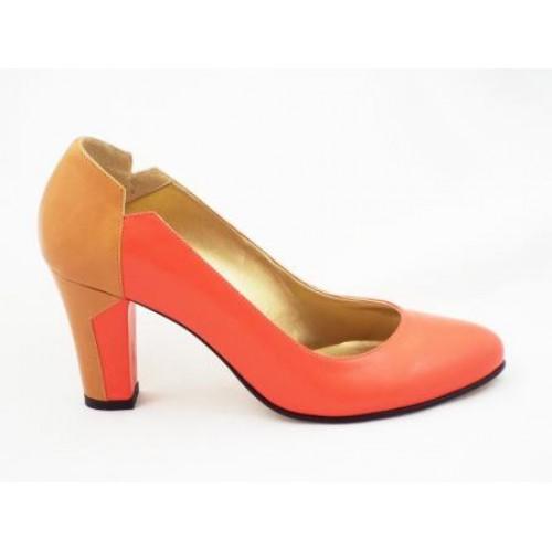 Pantofi cu toc mediu piele