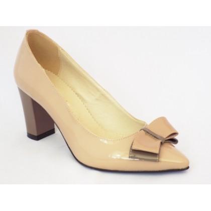 Pantofi dama Romnya bej, tip stiletto, piele naturala, toc 7 cm, (ROMA STILETTO TOC GROS-28)