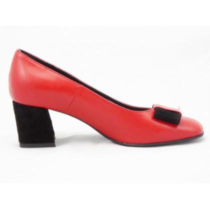 Pantofi dama rosii din piele naturala , cu accesoriu tip fundita si toc de 5 cm, (ROMA PD 148-19)
