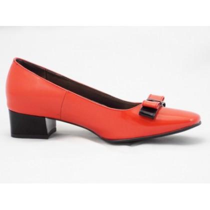 Pantofi dama rosii din piele naturala lacuita, cu accesoriu format din fundite suprapuse si toc de 3 cm, (ROMA PD LILY-99)