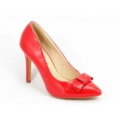 Pantofi dama rosii stiletto toc 10 cm Cryss, (CRYSTAL C-103 RED PAT-26)