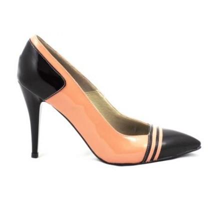 Pantofi dama roz-pal stiletto cu staif si varf negre, din piele lacuita,supereleganti, cu toc de 10 cm, (ROMA STILETTO PD 177-24)