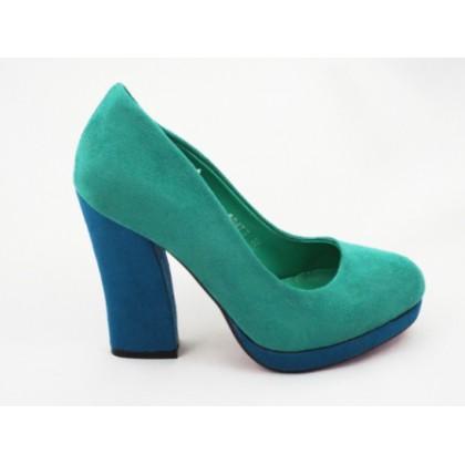 Pantofi dama verzi, eleganti, imitatie piele intoarsa, cu  toc inalt, (RS 477  verde piele intoarsa-60)