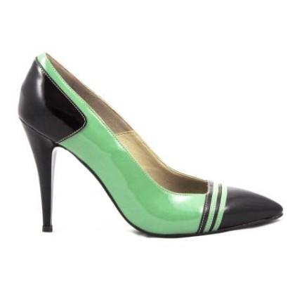 Pantofi dama verzi stiletto cu staif si varf negre, din piele lacuita,supereleganti, cu toc de 10 cm, (ROMA STILETTO PD 177-82)