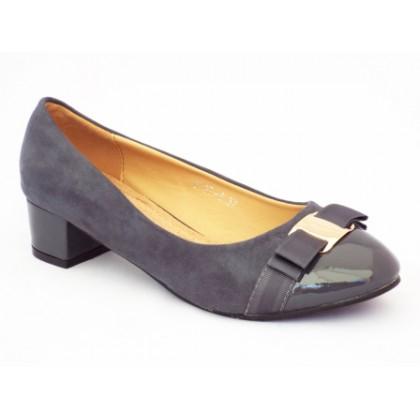 Pantofi femei Pelyna gri cu toc mic, (PLX 767-8-91)