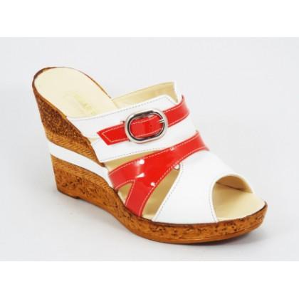 Papuci dama piele portocalii talpa ortopedica 10 cm Kennra, (NIMAR papuc toc 10 cm-29)
