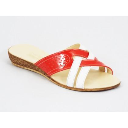 Papuci dama piele portocalii talpa ortopedica Kenna, (NIMAR papuc-19)