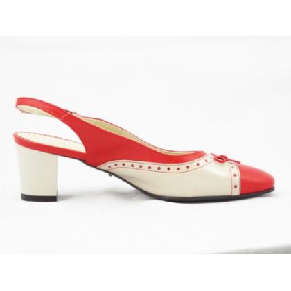 Sandale dama bej cu rosu din piele lacuita, cu toc de 6 cm, (PANTOROM PS ANA-52)