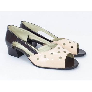 Sandale dama piele maro cu bej Alexia