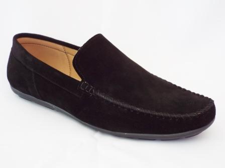 Pantofi Barbati Nely Negri Din Piele Intoarsa Cu Talpa Joasa