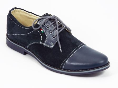 Pantofi Barbati Piele Intoarsa Albastri Siret Titano