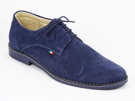 Pantofi Barbati Piele Intoarsa Albastri Siret  Sergyo