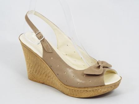 Sandale dama piele bej ortopedice toc 9 cm Gyonna image0
