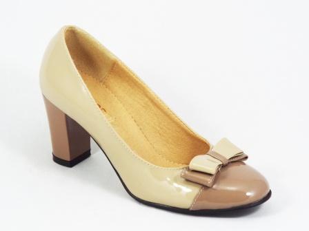 Pantofi Dama Piele Bej Lac Toc 7 Cm Lanna