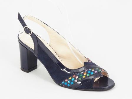 Sandale Dama Piele Albastre Toc 8 Cm Lynna