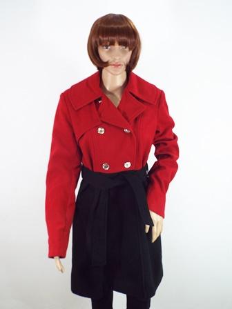 Palton Dama Rosu Cu Negru Alina