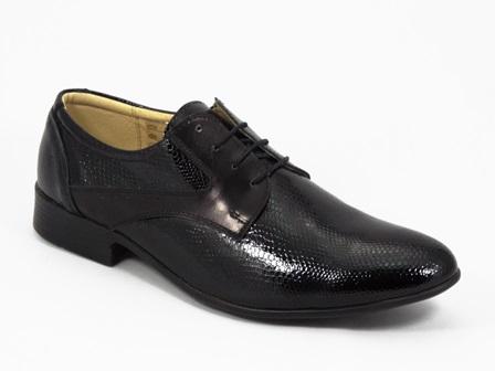 Pantofi Barbati Negri Lac Piele Doryn