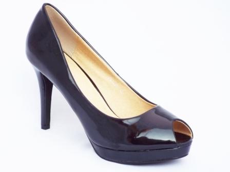 Pantofi dama negri cu toc 9 cm si platforma
